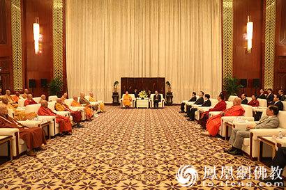 中央统战部部长尤权会见参加第五届世界佛教论坛部分代表(图)
